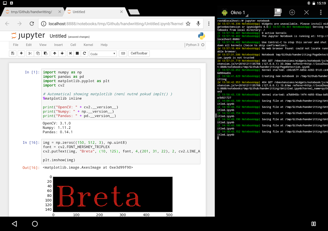 Jupyter Notebook with OpenCV on Android, Machine Learning - Breta Hajek