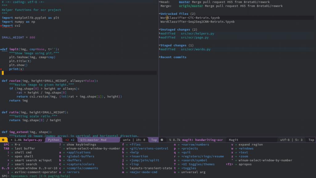 Spacemacs and its shortcut menu